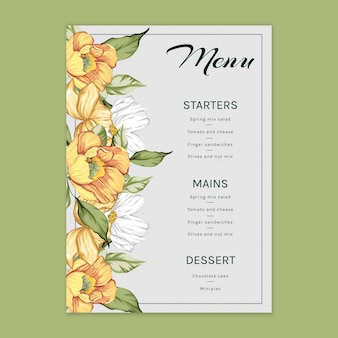 Floral menu template for wedding