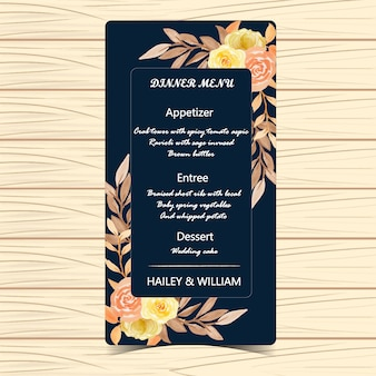 Floral menu wedding card with autumn flowers and leaves