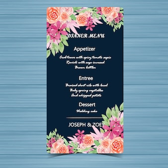 Floral menu wedding card with beautiful peach roses