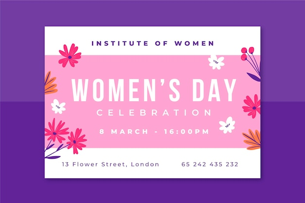 Floral minimalist women's day invitation