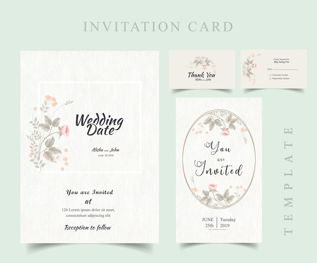 Floral modern wedding invitation card frame