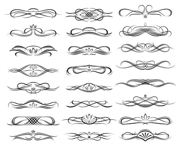 Floral monochrome headers and dividers Premium Vector
