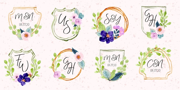 Floral monogram watercolor badge