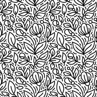 Floral monoline seamless pattern, textile printing
