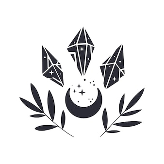 Floral moon composition with crystals and branches. boho mystical emblem. black silhouette with stars. vector illustration.