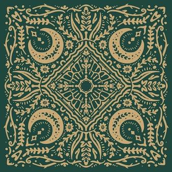 Floral moon grass vintage pattern bandana