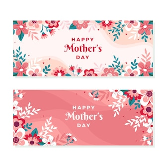 Floral mother's day banners set