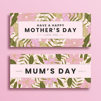 Набор цветочных баннеров ко дню матери