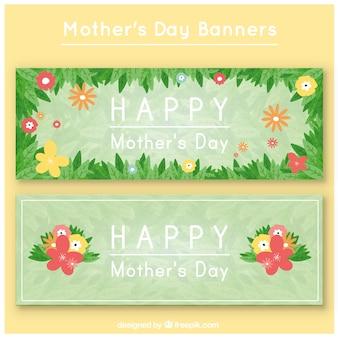 День баннеры цветочные матери