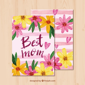 Floral mother's day greeting card in watercolor style