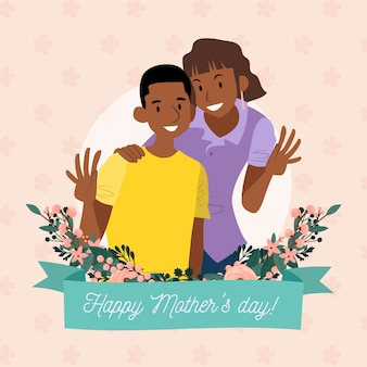 Floral mother;s day illustration with mom and son