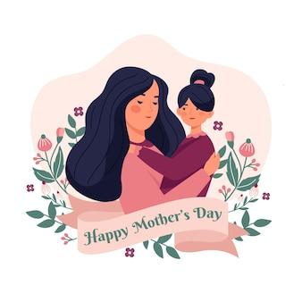 꽃 어머니의 날 그림 프리미엄 벡터