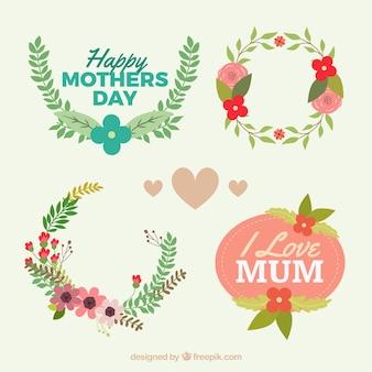 День этикетки цветочные матери