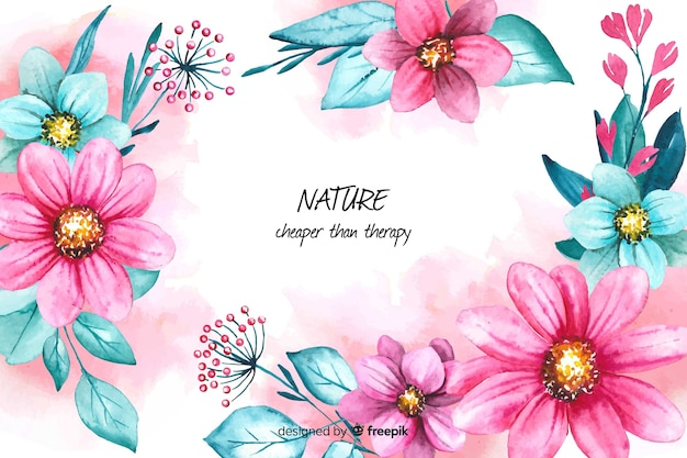 Floral nature background with quote