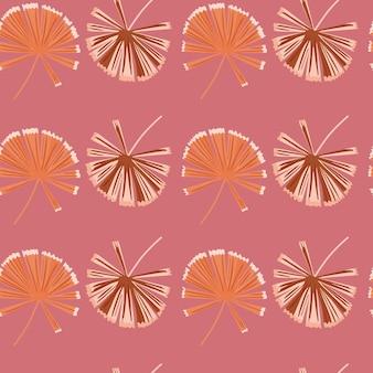 落書きパーム licuala シルエットと花の自然のシームレス パターン。