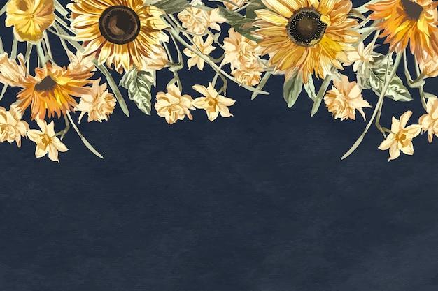 水彩のひまわりと花のネイビーブルーの背景ベクトル