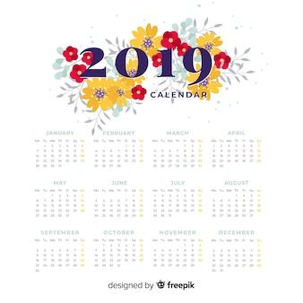 Calendario floreale del nuovo anno 2019