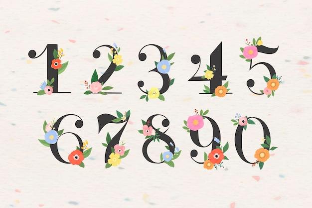 Numero floreale 0-9 set