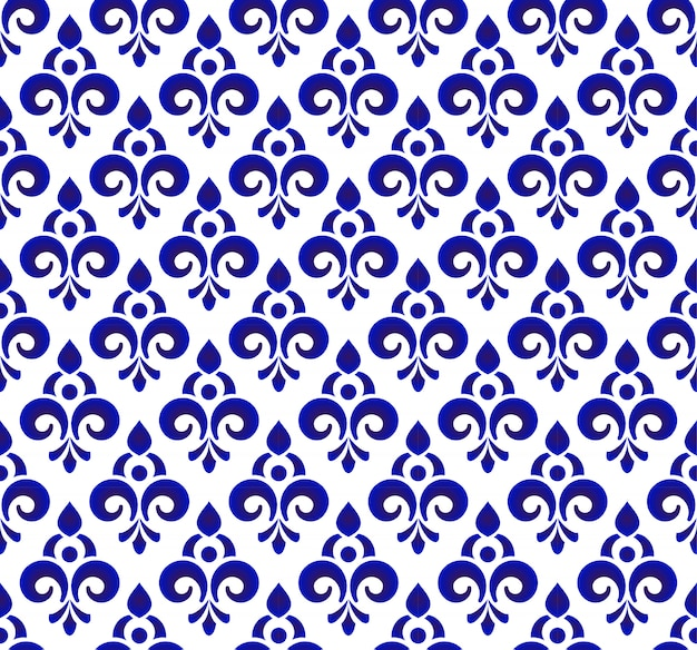 Floral ornament backdrop damask style, seamless blue and white royal design