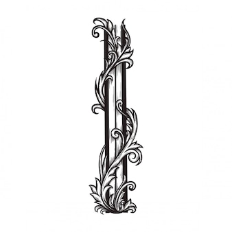 Floral ornament baroque for border frame and corner.