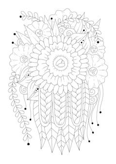 Цветочный орнамент черно-белые цветы для раскраски line art