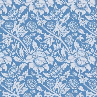 花飾り青いシームレス パターン背景