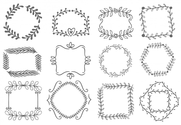 Floral ornament frames. decorative leaves frame, hand drawn ornamental borders  set