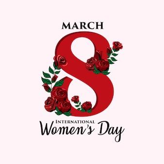 국제 여성의 날 꽃 장식 그림