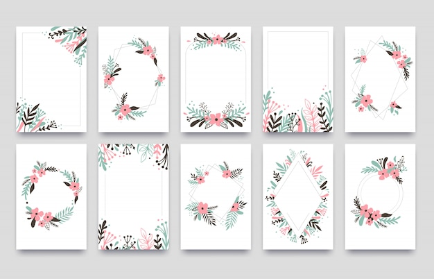 Floral ornament invitation card. willow leafs frame border, ornaments frames corners and ornamental twig wedding cards  template