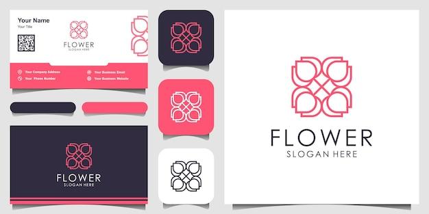 Цветочный орнамент дизайн логотипа вдохновение в стиле линии арт косметика спа салон красоты украшение