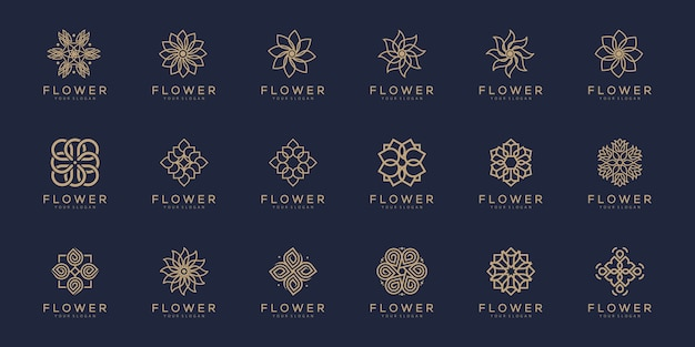 Floral ornament logo and icon set.