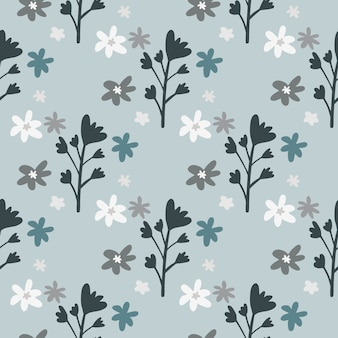데이지와 꽃 가지와 꽃 장식 완벽 한 패턴입니다. 파스텔 밝은 파란색 배경. 어두운 회색 식물 요소.