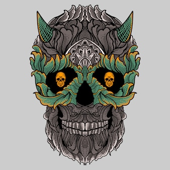Floral ornament skull with horn hand drawing