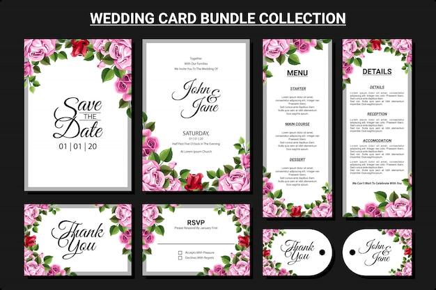 Floral ornament for wedding card bundle collection set