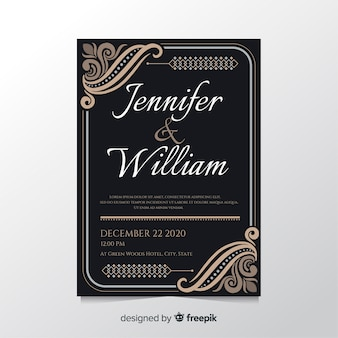 Floral ornament wedding invitation template
