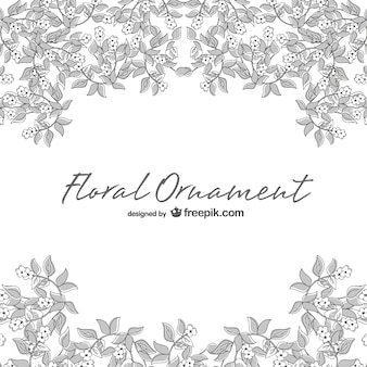 Floral ornament in white and gray