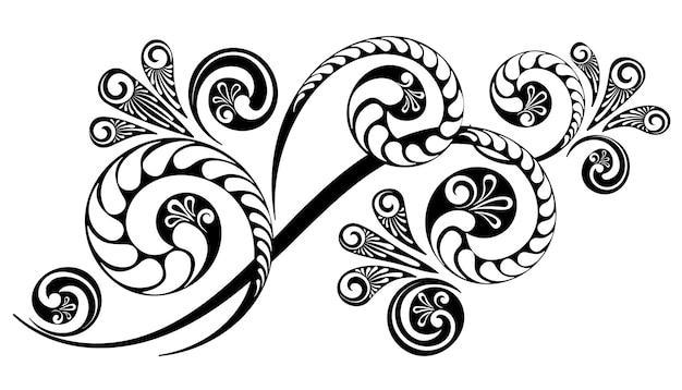 Растительный орнамент с красивым сложным узором для оформления приглашений и открыток.