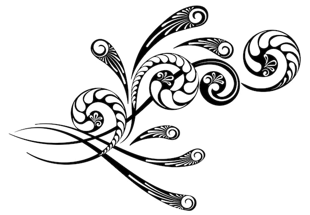Floral ornament with a beautiful complex pattern for the design of  letters and greeting cards