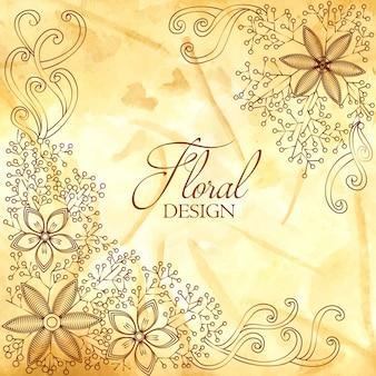 수채화 텍스처와 꽃 장식 디자인