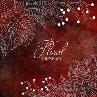 Цветочный орнамент с акварельной текстурой