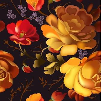 Цветочная декоративная рамка в русском жостовском стиле.