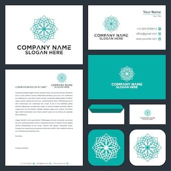 Цветочный орнамент логотип и визитка премиум