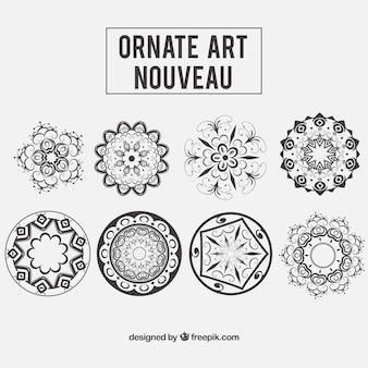 Floral ornaments in art nouveau style
