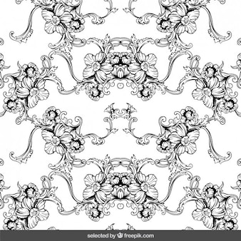 Floral ornaments background in hand drawn style