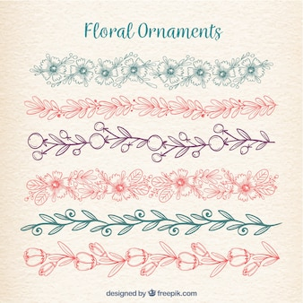 Floral ornaments collection in monolines