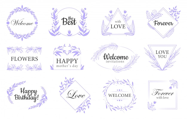 Floral ornaments flat labels set