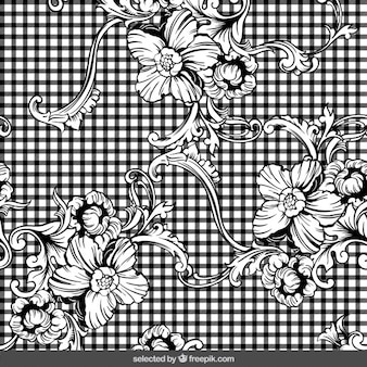 Floral ornaments on checkered background