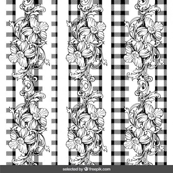 Floral ornaments on gingham background