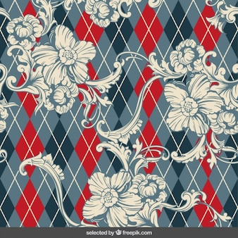 Floral ornaments on rhombus background