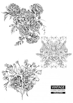 Floral outline coloring vintage collections